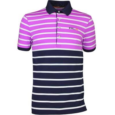 RLX Golf Shirt Stripe Tech Pique Port Royal Pink AW16