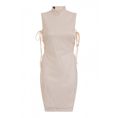 Nazz Collection Rena White & Nude High Neck Tie Side Shimmer Sparkle Dress