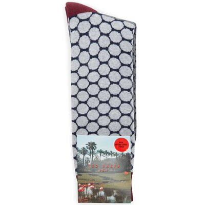 Ted Baker Golf Socks Two Tone Spot Grey SS17