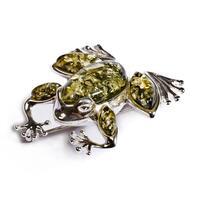 green-amber-silver-frog-brooch