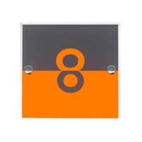 Acrylic house number with Orange and Grey halves