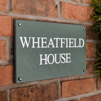Slate House Sign 2 line 355 x 200 - smoky green slate