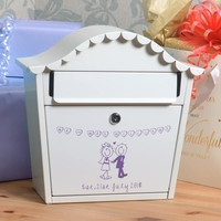 Personalised Wedding Letterbox With Name Date and Cartoon Couple