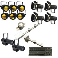 Complete Stage Lighting Installation Package with Powered Lighting Bar, LED Fresnels, Profiles and Par Cans