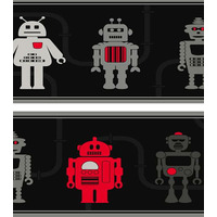 Robot Wallpaper Border - Dark Grey