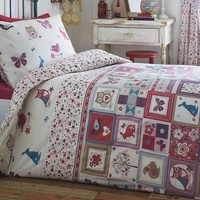 Floral Print Animals Patchwork, Single Bedding