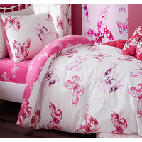 Catherine Lansfield, Girls Butterfly Single Duvet Set Pink