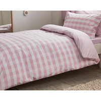 Bianca Cottonsoft Pink Gingham Double Duvet Cover Set