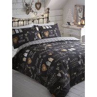 Simply Christmas Single Bedding - Black