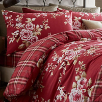 Catherine Lansfield Canterbury Brushed Check Standard Pillowcase Pair Dark Red