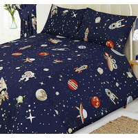 Space Rocket and Planets King Size Bedding