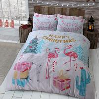Flamingo, Christmas Themed Single Bedding