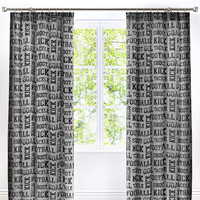 Grey, Football Themed Curtains 72s