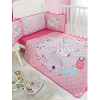 Unicorn Princess 3 Piece Cot Bale - Coverlet, Fitted Sheet and Bumper