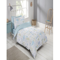 Ocean, 100% Anti-Bacterial Cotton. 3 Piece Bedding Set includes Fitted Sheet.
