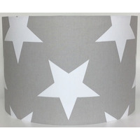 Grey with Large White Stars Large Fabric Light Shade