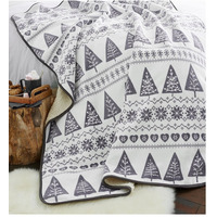 Catherine Lansfield Nordic Trees Christmas Fleece Blanket - Grey