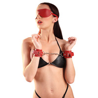 Leather Blindfold and Cuffs Set