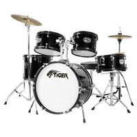 Tiger 5 Piece Junior Drum Kit - Drum Set for Kids in Black