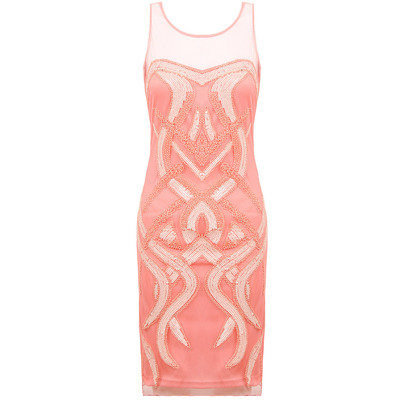 Nazz Collection Cici Coral Embellished Sequin Mesh Fitted Shift Dress