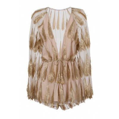 Nazz Collection Savina Nude & Golden Feather Leaf Plunge Playsuit