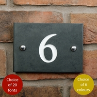 House numbers in smooth slate with 1 digit - any number 1 to 9
