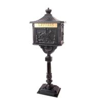 Decorative freestanding, aluminium letter box in black with ornate
