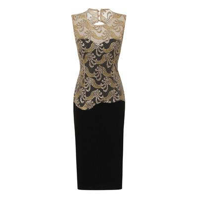 Nazz Collection Divine Sparkle Black Slinky Backless Midi Dress