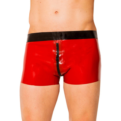 Red & Black Ultimate 2 Way Zip Latex Shorts