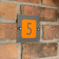 Acrylic house number with grey number and orange square
