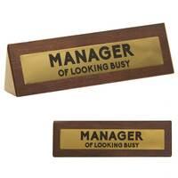 Wooden Desk Sign - Manager