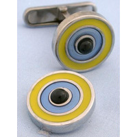 Yellow Blue and Onyx Target Cufflinks - 1+