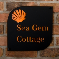 Seashell Motif Coastal Acrylic House Sign