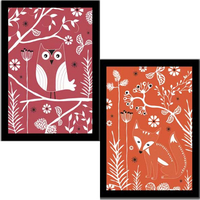 Fox and Owl Framed Art Prints - PACK OF TWO, 40 x 30 cm