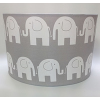 Grey Elephant, Large Fabric Light Shade