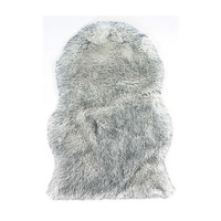 Faux Fur Sheepskin Rug, Grey Tipped - 60 x 90 cm