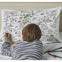 Doodle World Map Pillowcase - 100% Cotton