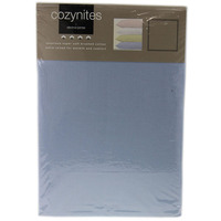 Blue Single Fitted Sheet - 100% Brushed Cotton