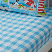Blue Gingham,Patch Single Fitted Sheet