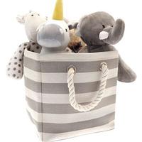 Grey Stripe Storage Bag - 26 x 26 x 27 cm