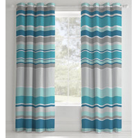 Catherine Lansfield Textured Stripe Eyelet Curtains 72s, Teal