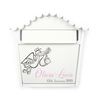 Personalised New Baby Letterbox With Pink Letters