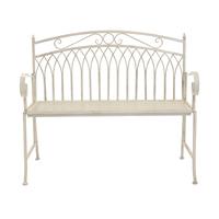 Wrought Iron Feminine Bench - Antique White