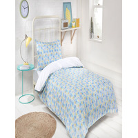 Grid, 3 Piece Single Bedding Set With Fitted Sheet - 100% Anti-Bacterial Cotton