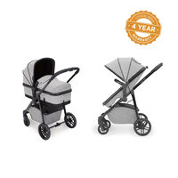 Ickle Bubba Moon 2 in 1 Carrycot and Pushchair - Black - Silver Grey