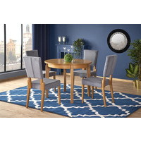 Saleen Oak Round Wooden Extending Dining Table 100cm-200cm