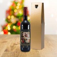 Christmas Tree Photo Upload Bottle Of Red Wine