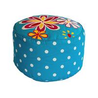 Floral Polka Dot Pouffe Footstool