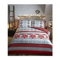 Aspen Nordic Christmas Bedding, Red - 100% Brushed Cotton