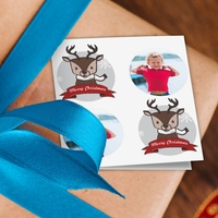 Christmas Reindeer Photo Gift Tags - Pack of 8